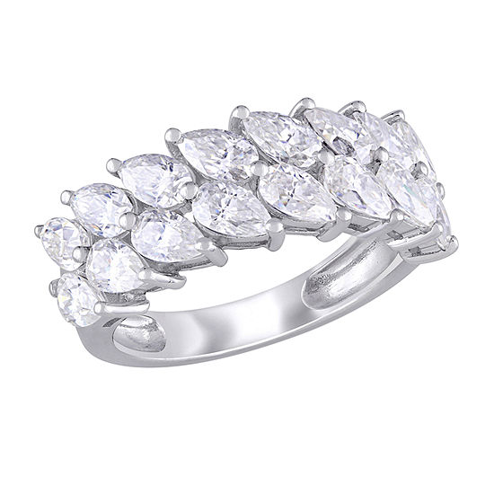Womens Lab Created White Moissanite 10K White Gold Eternity Band