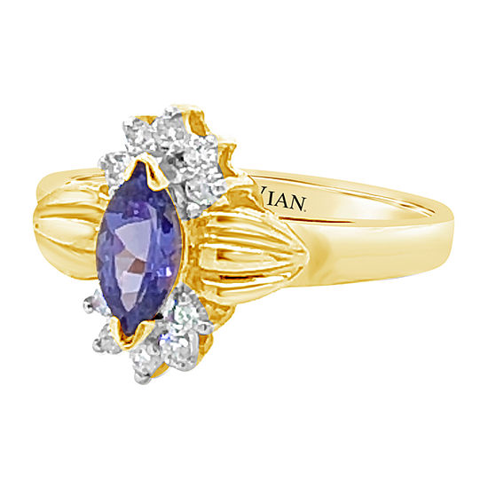 Le Vian Grand Sample Sale™ Ring featuring Blueberry Tanzanite® 1/6 CT. T.W. Vanilla Diamonds® set in 14K Honey Gold™