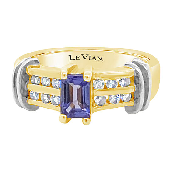 Le Vian Grand Sample Sale™ Ring featuring Blueberry Tanzanite® 1/4 CT. T.W. Vanilla Diamonds® set in 14K Two Tone Gold
