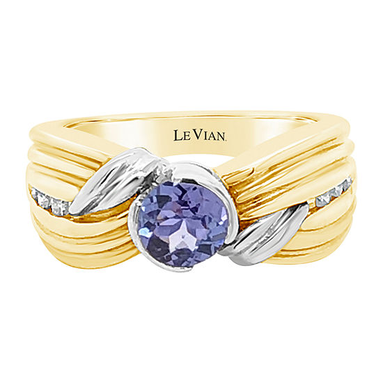 Le Vian Grand Sample Sale™ Ring featuring Blueberry Tanzanite® 1/10 CT. T.W. Vanilla Diamonds® set in 14K Two Tone Gold