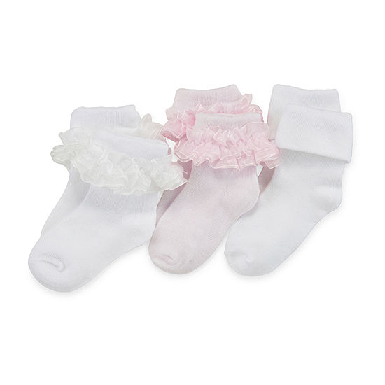 Jacques Moret Girls 3 Pair Turncuff Socks