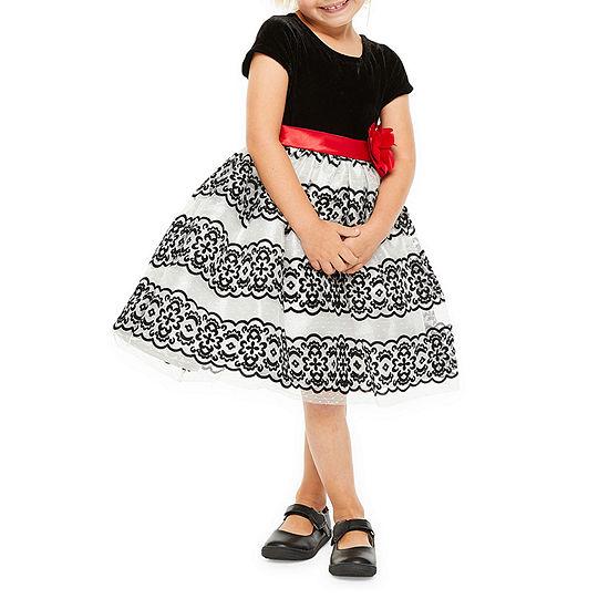 Nanette Baby Girls Short Sleeve Fit & Flare Dress - Toddler