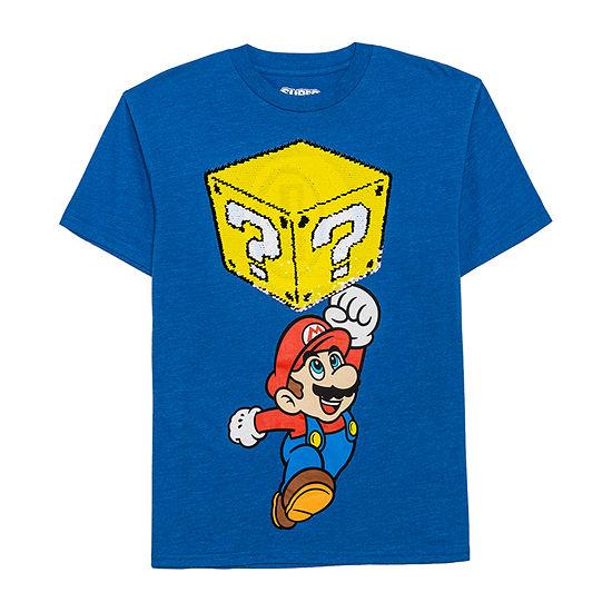 Reverse Sequin Tees Boys Crew Neck Short Sleeve Super Mario Graphic T-Shirt - Preschool / Big Kid
