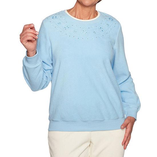 Alfred Dunner Classics Womens Crew Neck Long Sleeve Sweatshirt