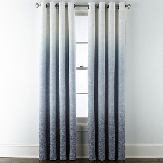 JCPenney Home Sullivan Ombre Blackout Grommet-Top Single Curtain Panel