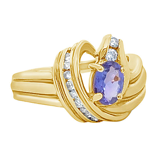 Le Vian Grand Sample Sale™ Ring featuring Blueberry Tanzanite® 1/4 CT. T.W. Vanilla Diamonds® set in 14K Honey Gold™