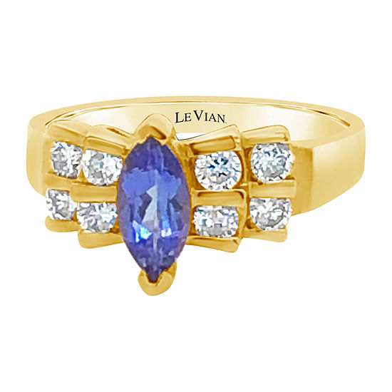 Le Vian Grand Sample Sale™ Ring featuring Blueberry Tanzanite® 1/2 CT. T.W. Vanilla Diamonds® set in 14K Honey Gold™