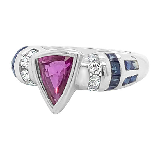 Le Vian Grand Sample Sale™ Ring featuring Bubble Gum Pink Sapphire™ Blueberry Sapphire™ 1/5 CT. T.W. Vanilla Diamonds® set in 18K Vanilla Gold®