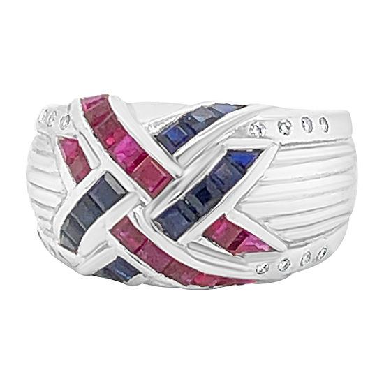 Le Vian Grand Sample Sale™ Ring featuring Blueberry Sapphire™ Passion Ruby™ 1/10 CT. T.W. Vanilla Diamonds® set in 18K Vanilla Gold®