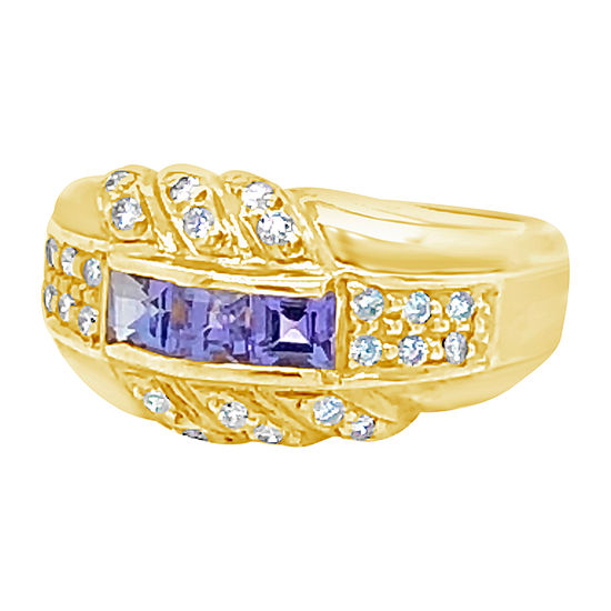 Le Vian Grand Sample Sale™ Ring featuring Blueberry Tanzanite® 1/4 CT. T.W. Vanilla Diamonds® set in 18K Honey Gold™