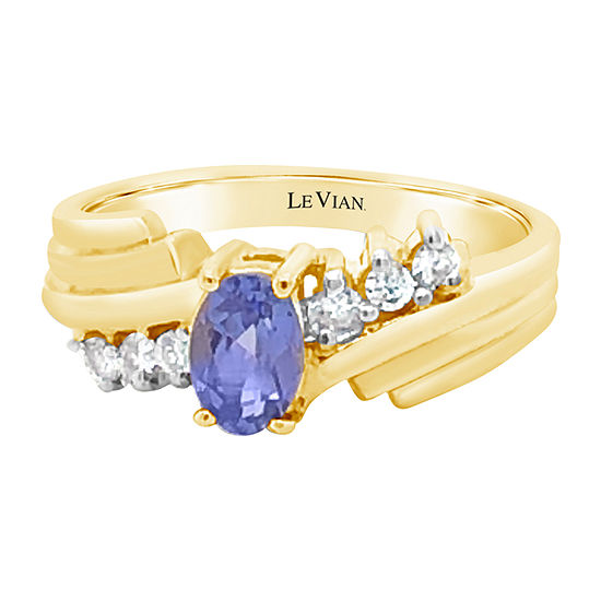 Le Vian Grand Sample Sale™ Ring featuring Blueberry Tanzanite® 1/8 CT. T.W. Vanilla Diamonds® set in 14K Honey Gold™