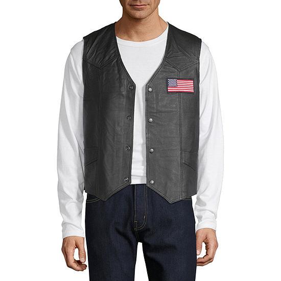 Vintage Leather Patriotic Flag Vest