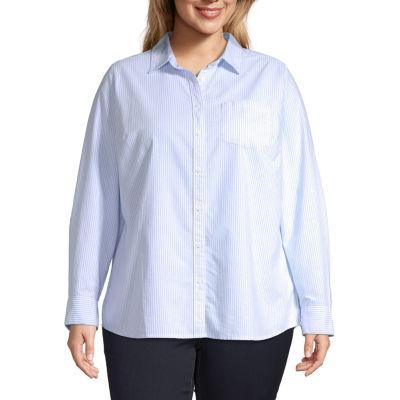 St. John's Bay-Plus Womens Long Sleeve Blouse