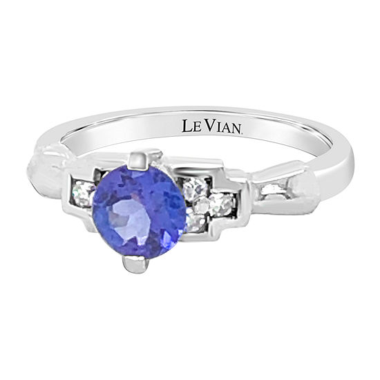 Le Vian Grand Sample Sale™ Ring featuring Blueberry Tanzanite® 1/6 CT. T.W. Vanilla Diamonds® set in 18K Vanilla Gold®