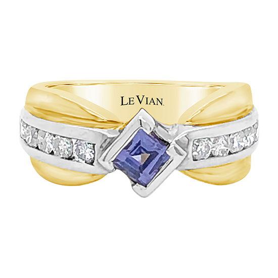 Le Vian Grand Sample Sale™ Ring featuring Blueberry Tanzanite® 1/2 CT. T.W. Vanilla Diamonds® set in 14K Two Tone Gold