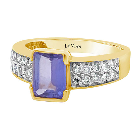 Le Vian Grand Sample Sale™ Ring featuring Blueberry Tanzanite® 3/8 CT. T.W. Vanilla Diamonds® set in 14K Honey Gold™