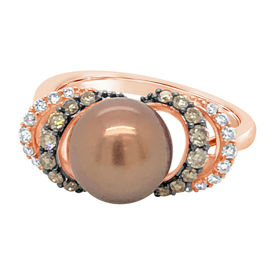 Le Vian Grand Sample Sale™ Le Vian Chocolatier® Ring featuring Chocolate Pearls® Chocolate Diamonds® Vanilla Diamonds® set in 14K Strawberry Gold®
