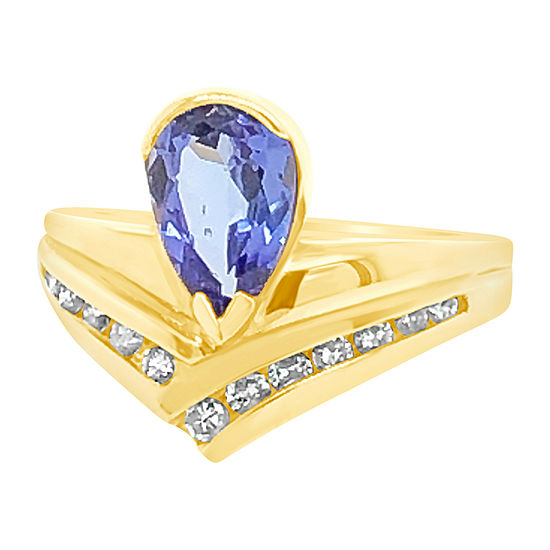 LIMITED QUANTITIES! Le Vian Grand Sample Sale™ Ring featuring Blueberry Tanzanite® 1/4 CT. T.W. Vanilla Diamonds® set in 14K Honey Gold™