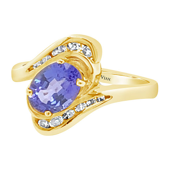 Le Vian Grand Sample Sale™ Ring featuring Blueberry Tanzanite® 1/5 CT. T.W. Vanilla Diamonds® set in 14K Honey Gold™