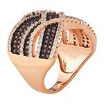 DiamonArt® Womens Brown Cubic Zirconia 14K Rose Gold Over Silver Cocktail Ring