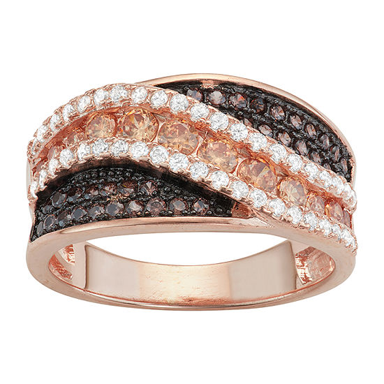 Diamonart Womens Brown Cubic Zirconia 14K Rose Gold Over Silver Cocktail Ring