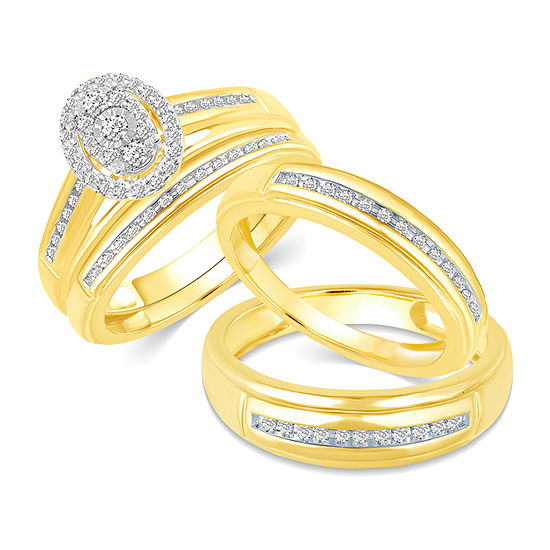 10K Gold Oval His and Hers Ring Sets