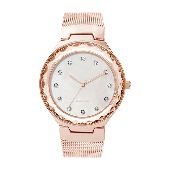 Red Bow Deal 1/10 C.T. T.W Diamond Womens Diamond Accent Rose Goldtone Watch Boxed Set-Jcp13300r81a-228