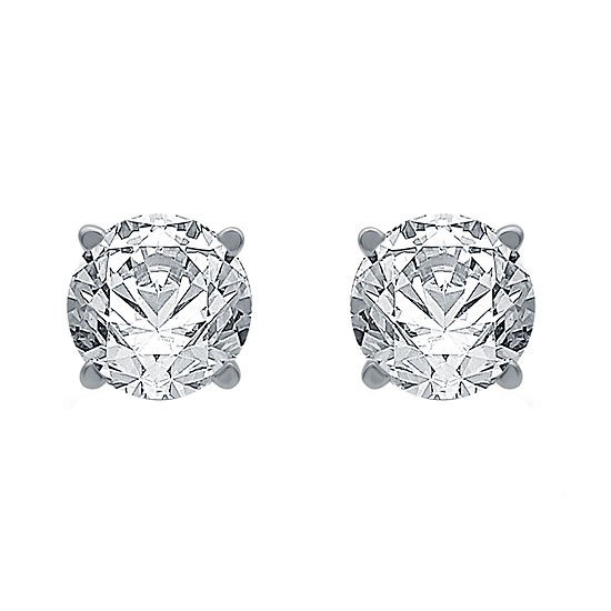 Ever Star 1 CT. T.W. Lab Grown White Diamond 10K White Gold Sterling Silver Stud Earrings