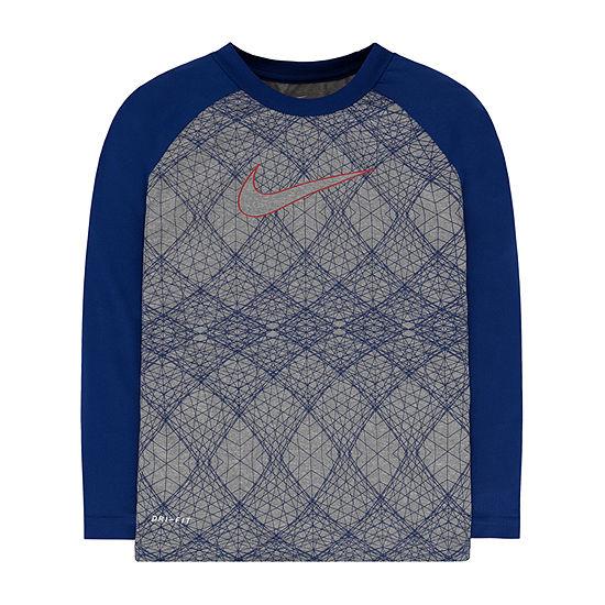 Nike Little & Big Boys Round Neck Long Sleeve T-Shirt