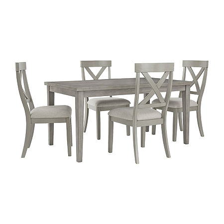 Signature Design by Ashley Paralee 5-Piece Dining Set, One Size , Gray