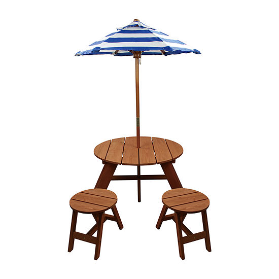 Child Wood Round Table W/ Umbrella And 2 Chairs