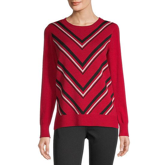 Liz Claiborne-Tall Womens Crew Neck Long Sleeve Chevron Pullover Sweater
