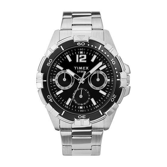 Timex Mens Silver Tone Stainless Steel Bracelet Watch - Tw2u70400ji