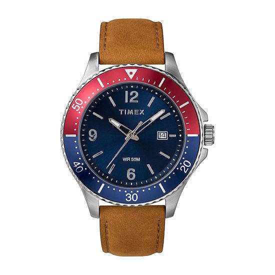 Timex Mens Brown Leather Strap Watch-Tw2u29200ji