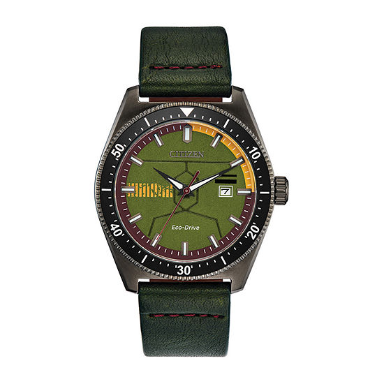 Citizen Boba Fett Star Wars Mens Green Leather Strap Watch-Aw1597-05w