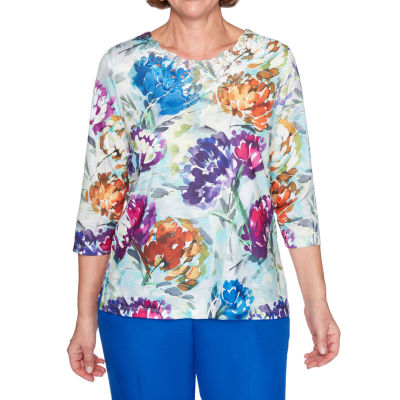 Alfred Dunner Essential Elements-Womens Round Neck 3/4 Sleeve T-Shirt