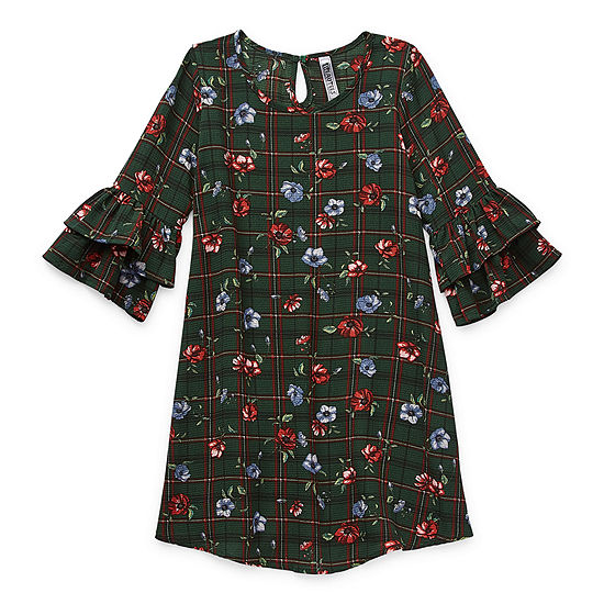 Knit Works Little & Big Girls 3/4 Sleeve Flutter Sleeve Swing Dresses
