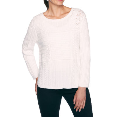 Alfred Dunner Essential Elements Womens Round Neck Long Sleeve Pullover Sweater