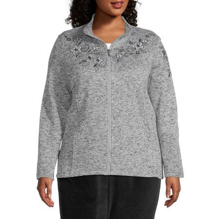 Alfred Dunner Modern Living Knit Lightweight Jacket-Plus, 2x , Gray