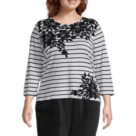 Alfred Dunner Plus Modern Living-Womens Round Neck 3/4 Sleeve T-Shirt, 2x , Black