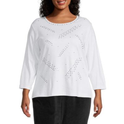 Alfred Dunner Plus Modern Living Womens Round Neck 3/4 Sleeve T-Shirt