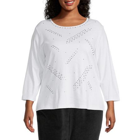 Alfred Dunner Plus Modern Living Womens Round Neck 3/4 Sleeve T-Shirt, 2x , White