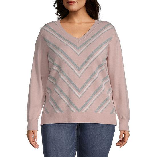 Liz Claiborne Chevron Pullover Sweater - Plus