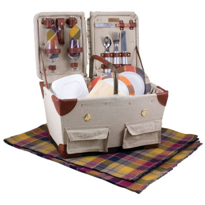 Picnic Time® Pioneer Canvas Plaid Picnic Basket For Two