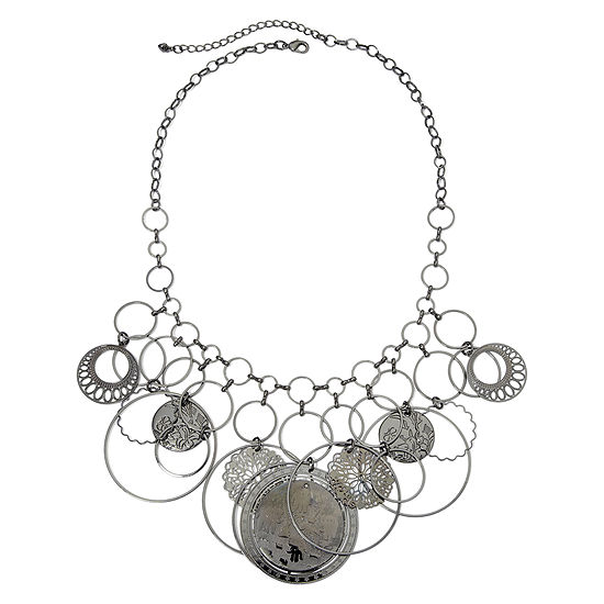 Dark Gray G Ring Bib Necklace