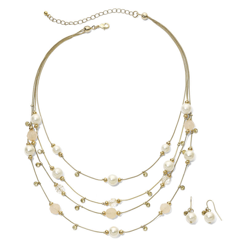 Faux Pearl & Bead Necklace & Earring Set