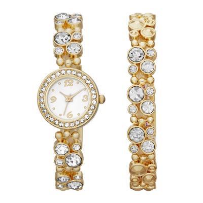 Womens Crystal-Bubble Watch and Bracelet Set