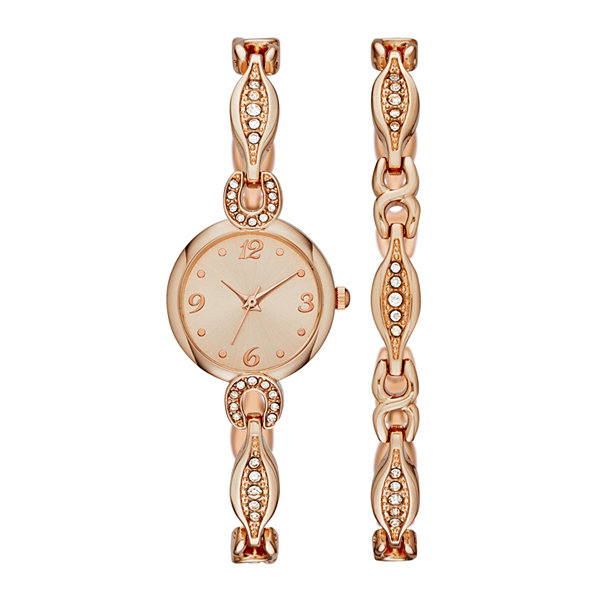 Womens Crystal Dainty Glitz Watch and Bracelet Set
