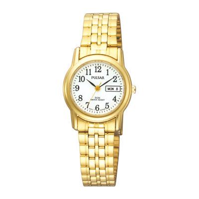 Pulsar® Womens Gold-Tone Stainless Steel Bracelet Watch PXU040X