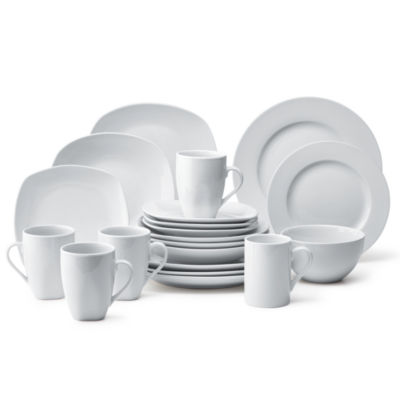 Tabletops Unlimited® Quinto White Porcelain Square 16 Pc. Dinnerware Set